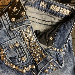 Miss Me Jeans - Miss Me Metal Rhinestone Studded Jeans Low Bootcut